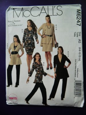 Mccalls Pattern 6247 Uncut Misses Wardrobe Stretch Knits Only Size