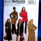 Butterick Pattern # 5297 UNCUT Misses Coat Jacket Belt Size 6 8 10 12