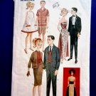 Butterick Pattern # 6668 UNCUT Retro Doll Wardrobe 11 ½  Barbie Ken