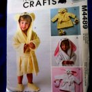 McCalls Pattern # 4489 UNCUT Toddler Bath Robe Slippers Bunny Bear