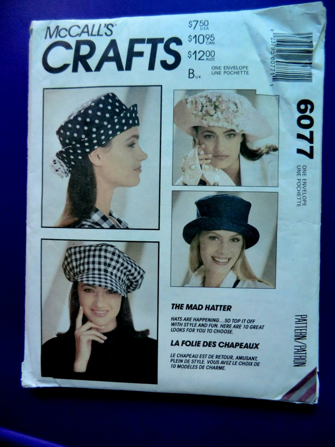 McCalls Pattern # 6077 UNCUT Misses Hat / Hats Mad Hatter ALL Sizes