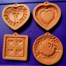 Lot 4 Vintage COTTON PRESS Cookie Biscuit Mold Heart Wreath