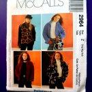 McCalls Pattern # 2964 UNCUT Misses Fleece Jacket Size Large XL XXL