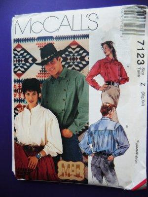 McCalls Pattern # 7123 UNCUT Misses Mens Cowboy Western Shirt Size XL XXL