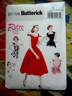 Butterick Pattern # 5708 UNCUT Misses Dress Retro Vintage 1953 Size 14 16 18 20 22