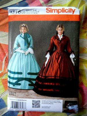 Simplicity Pattern # 1818 UNCUT Misses Civil War Dress Size 16 18 20 22 24