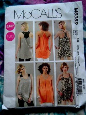 McCalls Pattern # 6359 UNCUT Summer Tunic Variations Size 18 20 22 24