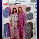 McCalls Pattern # 3445 UNCUT Misses Pajamas Top Bottom Nightshirt Size XS Small Medium