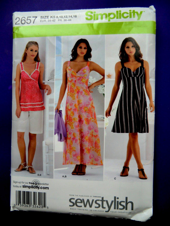 Simplicity Pattern # 2657 UNCUT Misses Summer Top Dress Shorts Size 8 10 12 14 16