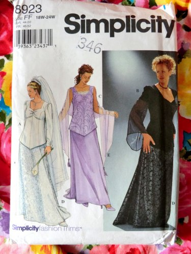 Simplicity Pattern # 8923 UNCUT Misses Womens Special Occasion Top Long Skirt Shawl Size 18 20 22 24