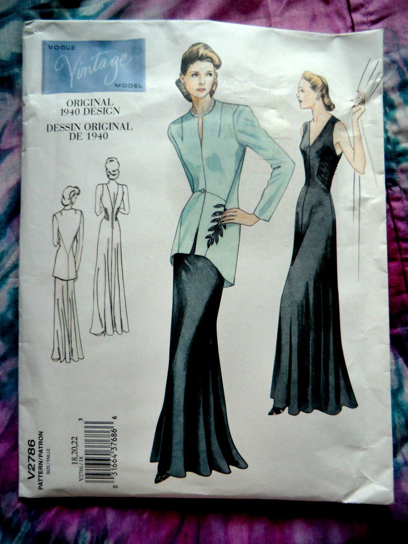 Vogue Pattern #2786 UNCUT Misses Retro Formal Evening Dress Jacket Size 18 29 22