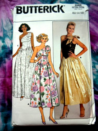 Butterick Pattern # 3582 UNCUT Misses Dress Special Occasion Evening Length Size 12 14 16
