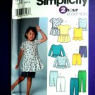 Simplicity Pattern # 5703 UNCUT Girls Tip Pants Shorts  STRETCH KNITS ONLY Size 5 6 7 8
