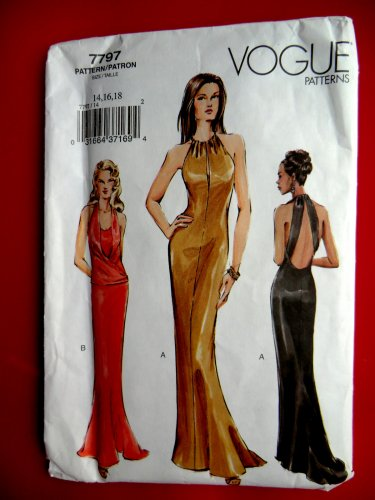 Vogue Pattern # 7797 UNCUT Misses Gown Evening Dress Size 14 16 18