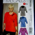 McCalls Pattern # 6203 UNCUT Misses Blouse STRETCH KNITS ONLY Size XS Small Medium