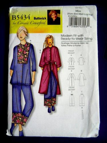Butterick Pattern # 5434 UNCUT Misses Top Robe Belt Pants Size XS Small Large XL