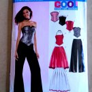 New Look Pattern # 6480 UNCUT Misses Bustier Corset Wide Leg Pants Pleated Skirt Junior Sizes
