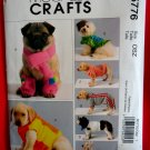 McCalls Pattern # 5776 UNCUT Dog Cat Coat Scarft Leg Warmers Size Small Medium Large XL