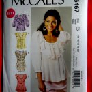 McCalls Pattern # 6467 UNCUT Misses Pull-Over Top or Blouse Size 14 16 18 20 22