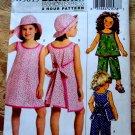 Butterick Pattern # 5019 UNCUT Girls Dress Top Pants Hat Size 6 7 8