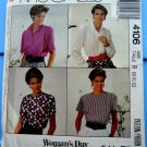 McCall's Pattern # 4106 UNCUT Misses Blouse Sewing Pattern Size 8 10 12
