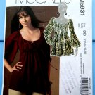 McCalls Pattern # 5931 UNCUT Misses Top Empire Waist Size 12 14 16 18
