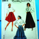 Simplicity Pattern # 8305 UNCUT Misses Full Western Style Skirt Variations Size 8 10 12 14