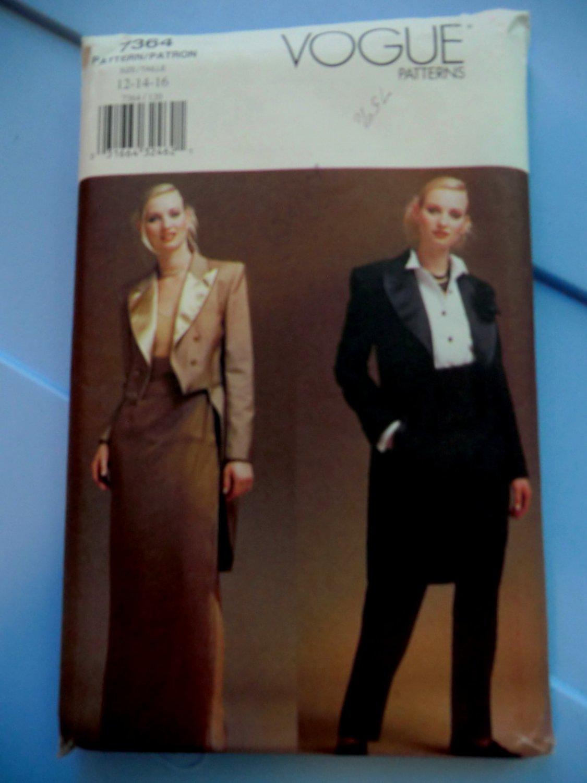 SOLD! Vogue Pattern # 7364 UNCUT Misses Tuxedo Jacket Skirt and Pants Size 18 20 22