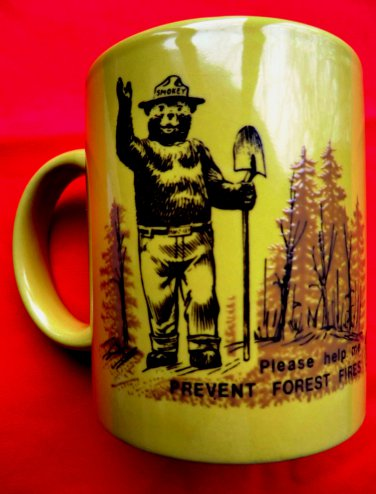 Smokey the Bear VINTAGE Coffee Mug Cup Firefighter Fire Prevention