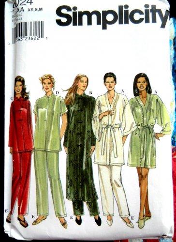 Simplicity Pattern # 9024 UNCUT Misses Pajama Top Bottom Robe Size XS Small Medium 6 8 10 12 14