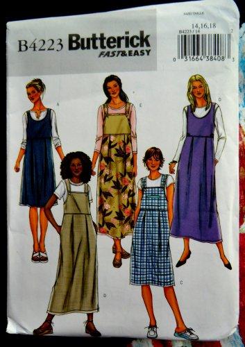 Butterick Pattern # 4223 UNCUT Misses Jumper Dress Size 14 16 18