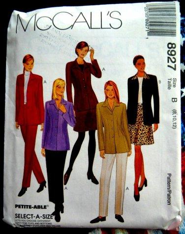 McCalls Pattern # 8927 UNCUT Misses Unlined Jacket Pants Skirt Size 8 10 12