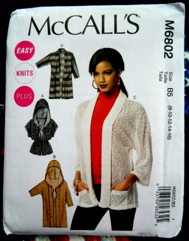 Mccalls Pattern 6802 Uncut Misses Cardigan Stretch Knits Size 8 10
