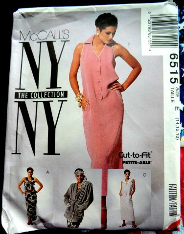 McCalls Pattern # 6515 UNCUT Misses Jacket Dress Variations Size 14 16 18 NY Collection