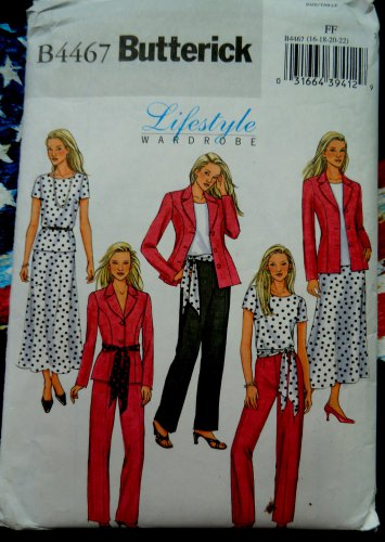 Butterick Pattern #4467 UNCUT Misses Easy Wardrobe Jacket Skirt Pants Top Sash Size 16 18 20 22