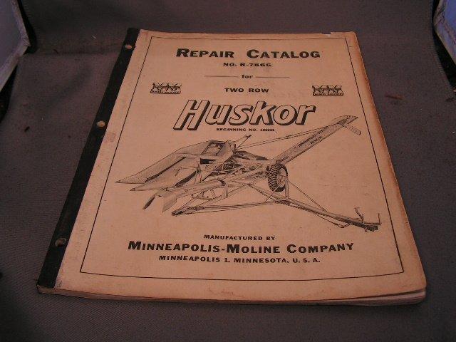 Minneapolis-Moline Repair Catalog No R-786G for 2 row Corn Husker.