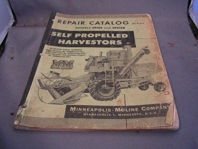 Minneapolis-Moline Repair Catalog Models SP168 and SPR168 Combines.