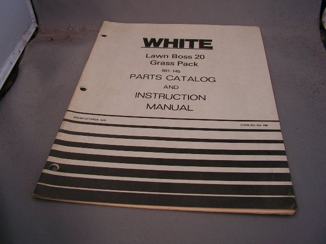 White Lawn Boss 20 Grass Pack Parts Catalog and Instruction Manual.