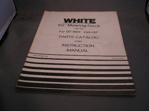 """White 50"""" Mowing Deck Parts Catalog and Instruction Manual."""