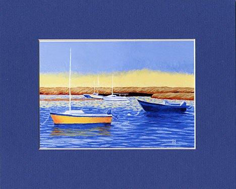 CAPE COD Boats Seascape Beach Matted Print Renee Rutana