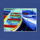 CAPE COD Rowboats Blues Greens Matted Print Dinghy, Renee Rutana
