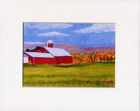 New England Autumn Farm Landscape, Barn Matted Print, Renee Rutana