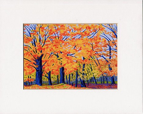 VERMONT Trees Landscape FALL Leaves Matted Print, Renee Rutana