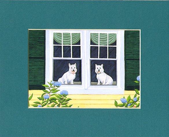 WESTIES West Highland Terrier dogs Matted Print, Renee Rutana