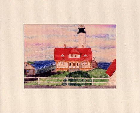 MAINE Portland Head Lighthouse Matted Print, Renee Rutana