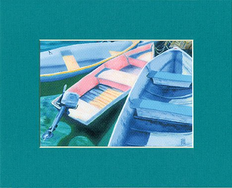 CAPE COD Rowboats, Dinghy, Skiff, Matted Print, Renee Rutana