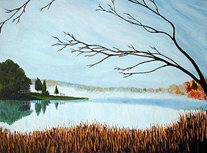 CONNECTICUT ART Original Painting Crystal Lake, 18 x 24, Renee Rutana