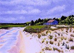 ACEO Print of Original Cape Cod Dune Painting, Renee Rutana