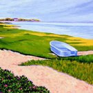 ACEO Print of Original Cape Cod Boat Beach Painting, Renee Rutana