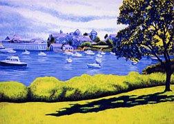ACEO Print of Original Cape Cod Boats Harwichport Harbor Painting, Renee Rutana